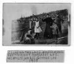 Clearin The Land, Wooden Pump, Left To Right Margaret Lee, Mrs. WM Lee, Wm. Lee, George Lee 1908